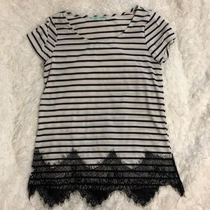 Maurices White & Black Striped Tee With Lace Hem